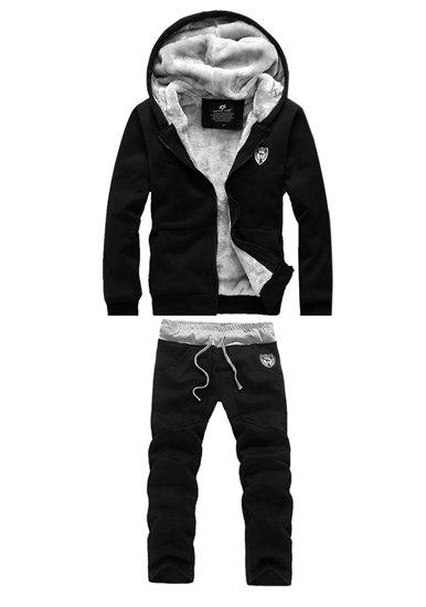 Casual Hooded Badge Embellished Front Pocket Fitted Flocky Men's Long Sleeves Hoodie+Pants - BLACK L