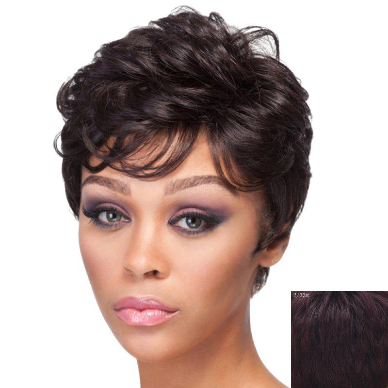 Fashion Side Bang Ladylike Short Capless Fluffy Curly Human Hair Wig For Women - RED MIXED BLACK