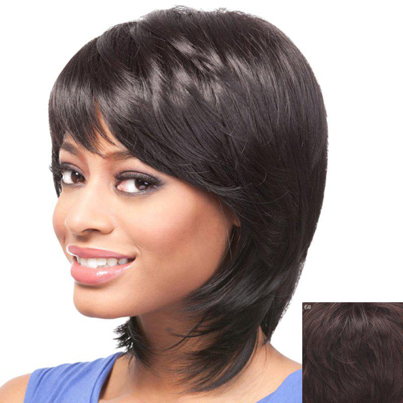 Stylish Short Side Bang Human Hair Elegant Straight Capless Women's Wig - MEDIUM BROWN