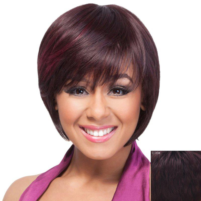 Nobby Straight Stunning Short Side Bang Bob Haircut Capless Women's Human Hair Wig - RED MIXED BLACK