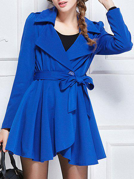 Brief Turn-Down Collar Candy Color Long Sleeve Belted Coat For Women - BLUE 2XL