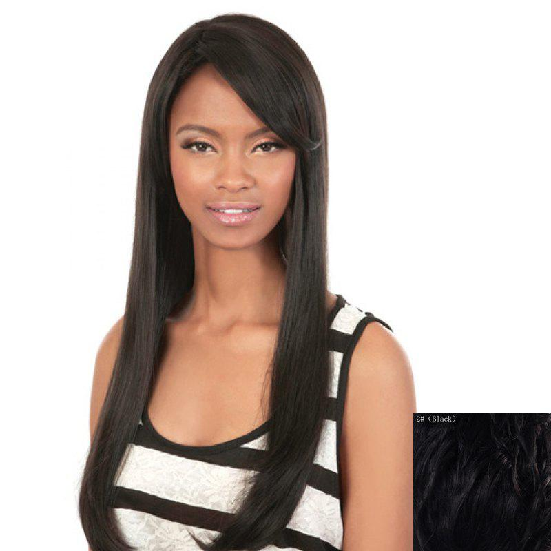 Charming Straight Side Bang Fashion Long Capless Human Hair Wig For Women - BLACK