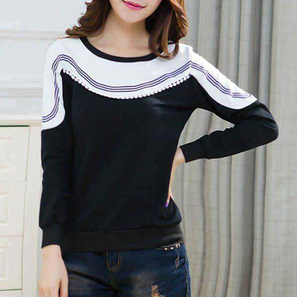Casual Scoop Neck Long Sleeves Hit Color Spliced Women's Sweatshirt - BLACK L