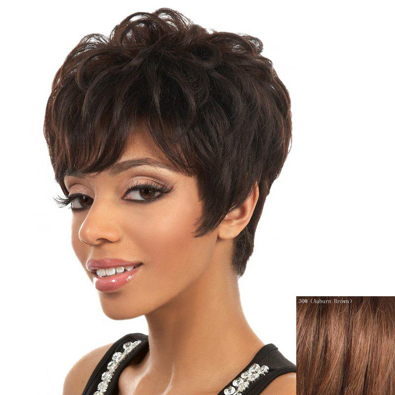 Stylish Side Bang Spiffy Short Shaggy Curly Capless Real Natural Hair Wig For Women - AUBURN BROWN
