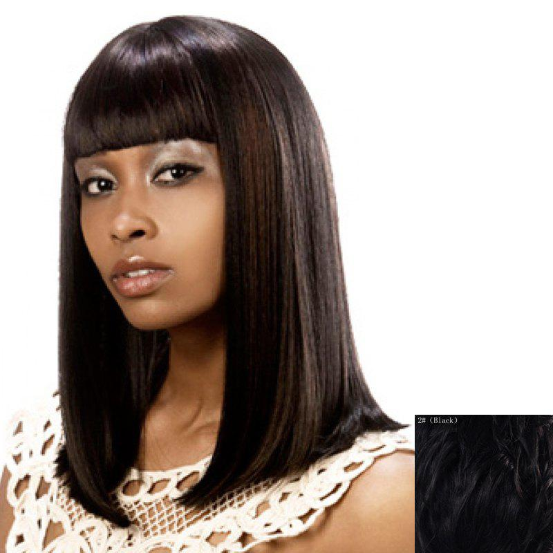 Charming Glossy Straight Neat Bang Vogue Long Capless Women's Human Hair Wig - BLACK