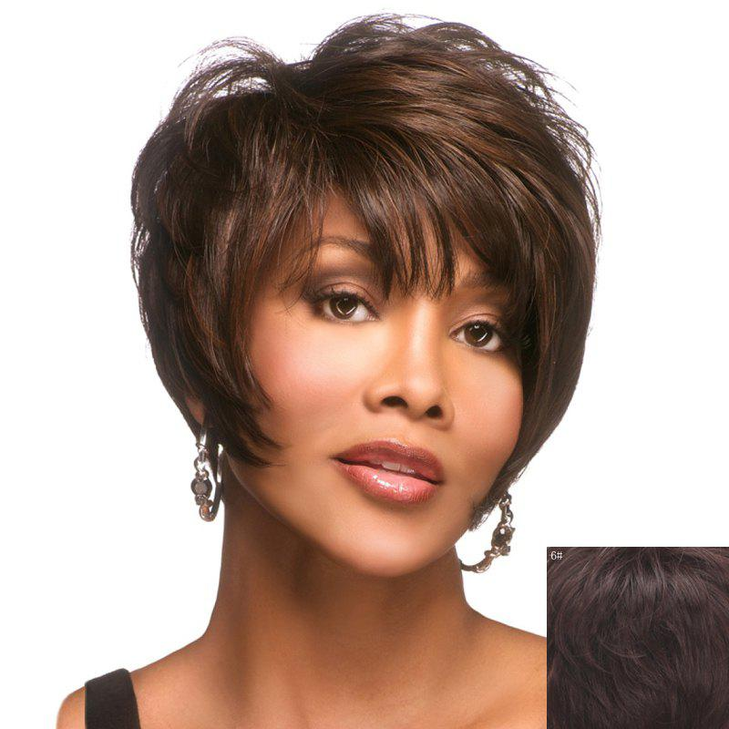 Stylish Inclined Bang Graceful Short Capless Shaggy Curly Real Human Hair Wig For Women - MEDIUM BROWN