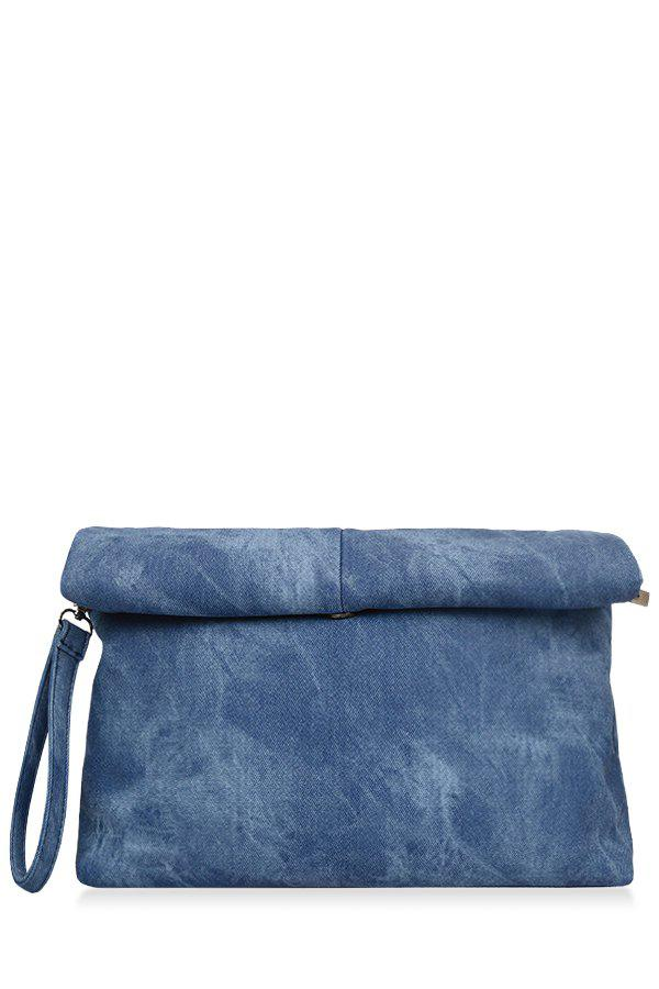 Concise Solid Color and Denim Design Women's Clutch Bag - BLUE