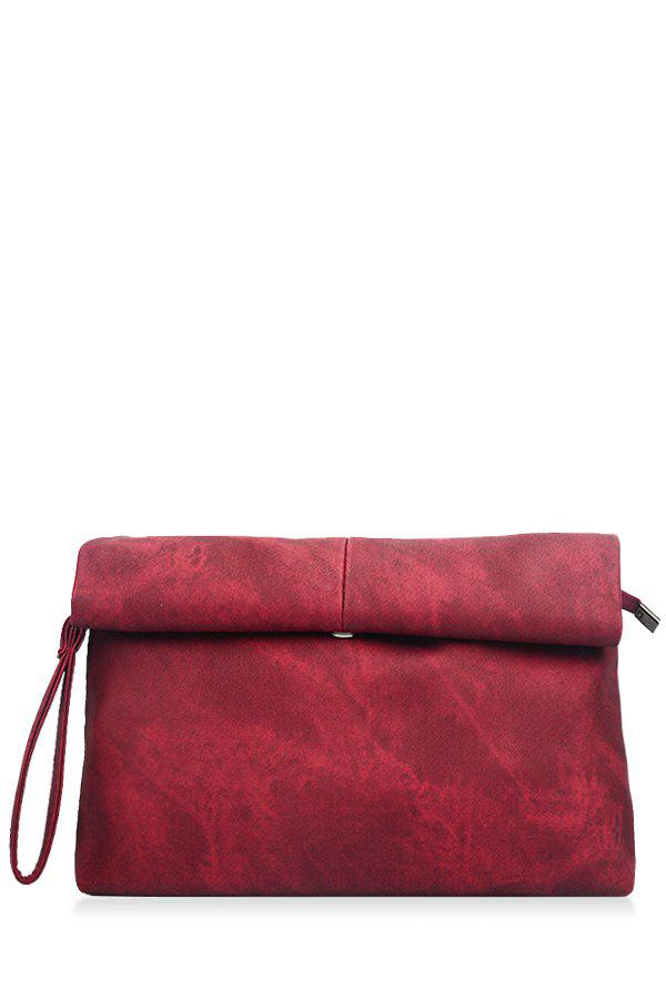 Concise Solid Color and Denim Design Women's Clutch Bag - CLARET