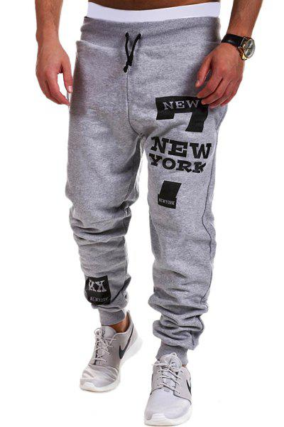 Letters and Number Print Lace-Up Beam Feet Men's Pants - LIGHT GRAY L