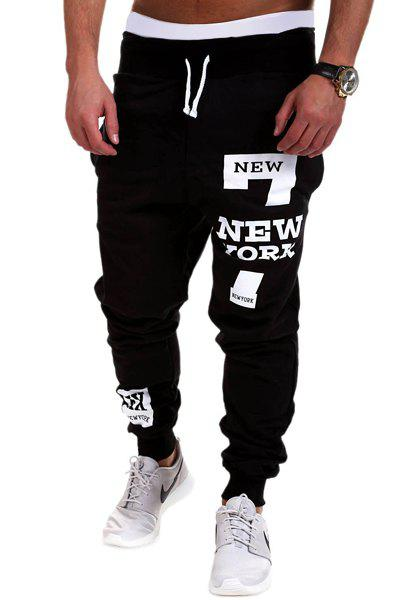 Letters and Number Print Lace-Up Beam Feet Men's Pants - BLACK M