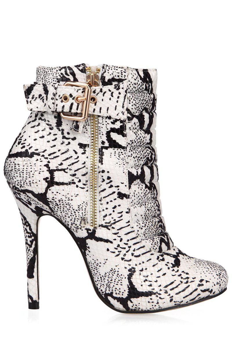 Trendy Snake Print and Buckle Design Women's Short Boots