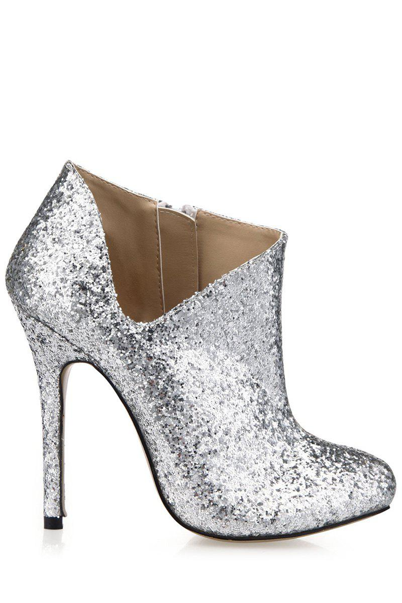 Stylish Sequined and V-Shape Design Women's Ankle Boots - SILVER 37
