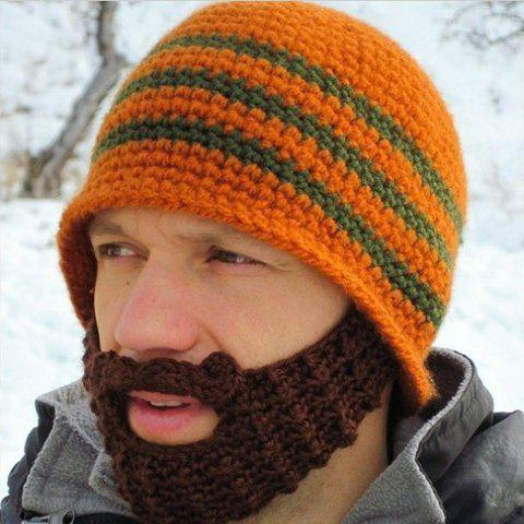 2018 Stylish Chic Knitting Pattern Decorated Hat For Men Orange In
