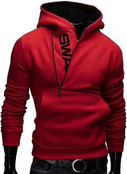 Letters Print Hooded Color Block Zipper Design Long Sleeve Men's Hoodie - RED XL