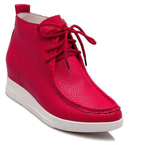Trendy Solid Colour and Stitching Design Women's Athletic Shoes - RED 38