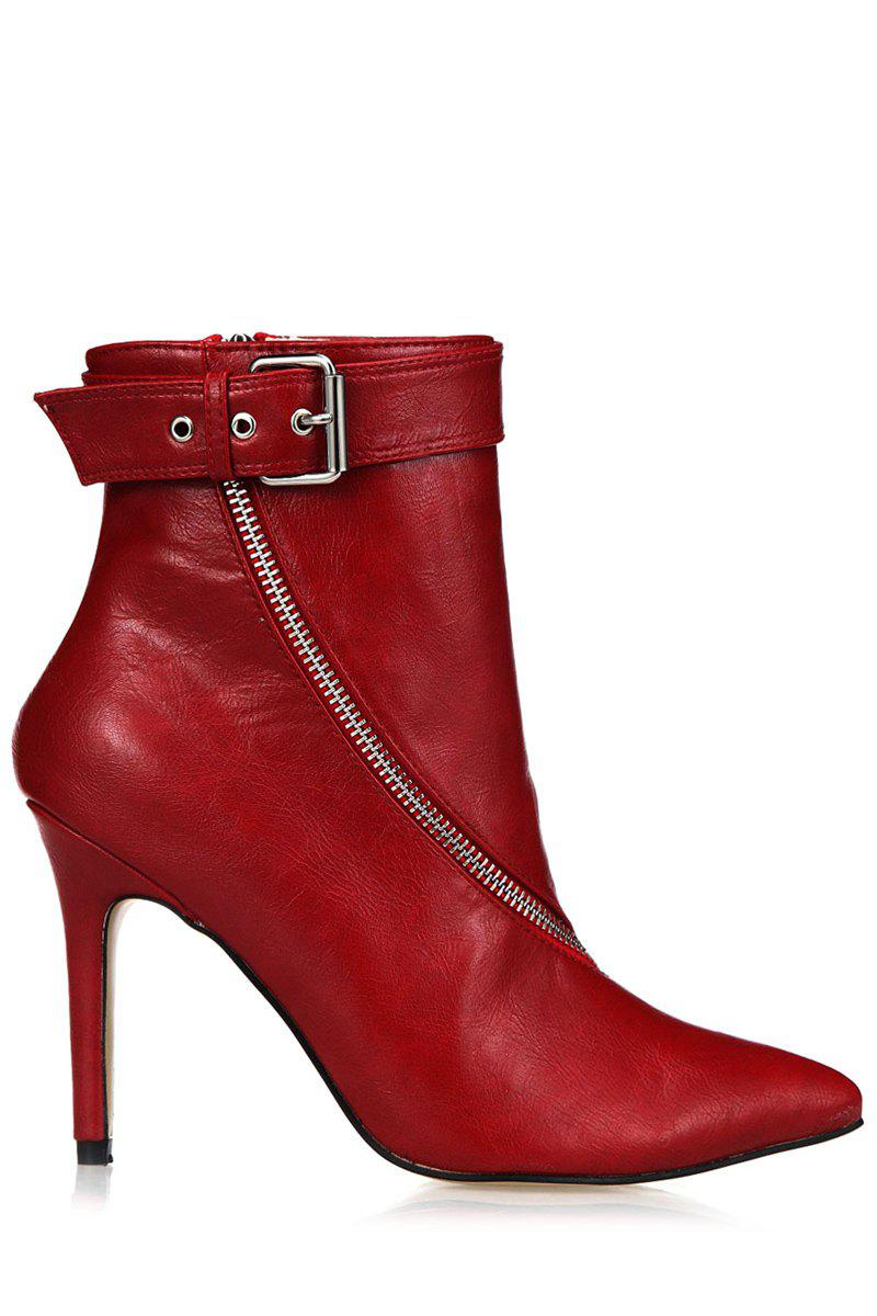 Elegant Zipper and Pointed Toe Design Women's Short Boots - WINE RED 35