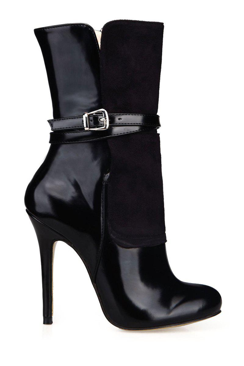 Sexy Splicing and Black Design Women's High Heel Boots