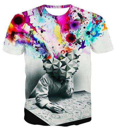 3D Watercolor Abstract Print Round Neck Short Sleeve Men's T-Shirt
