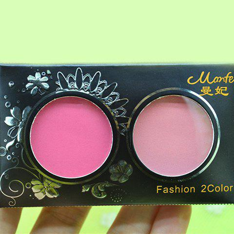Professional 2 Colours Mineral Natural Ruddy Blush Palette with Mirror and Brush - 2