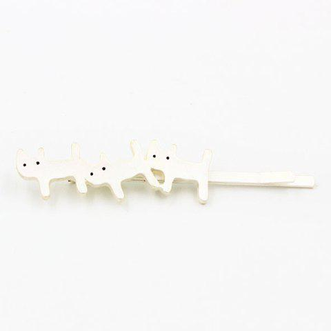 Faddish Solid Color Kitten Shape Hairpin For Women - SILVER