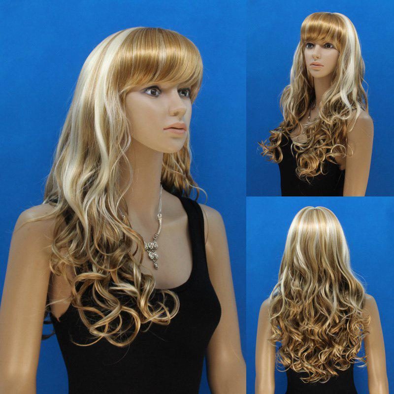 Shaggy Curly Capless Attractive Full Bang Synthetic Stylish Blonde Mixed Flax Long Women's Wig - COLORMIX