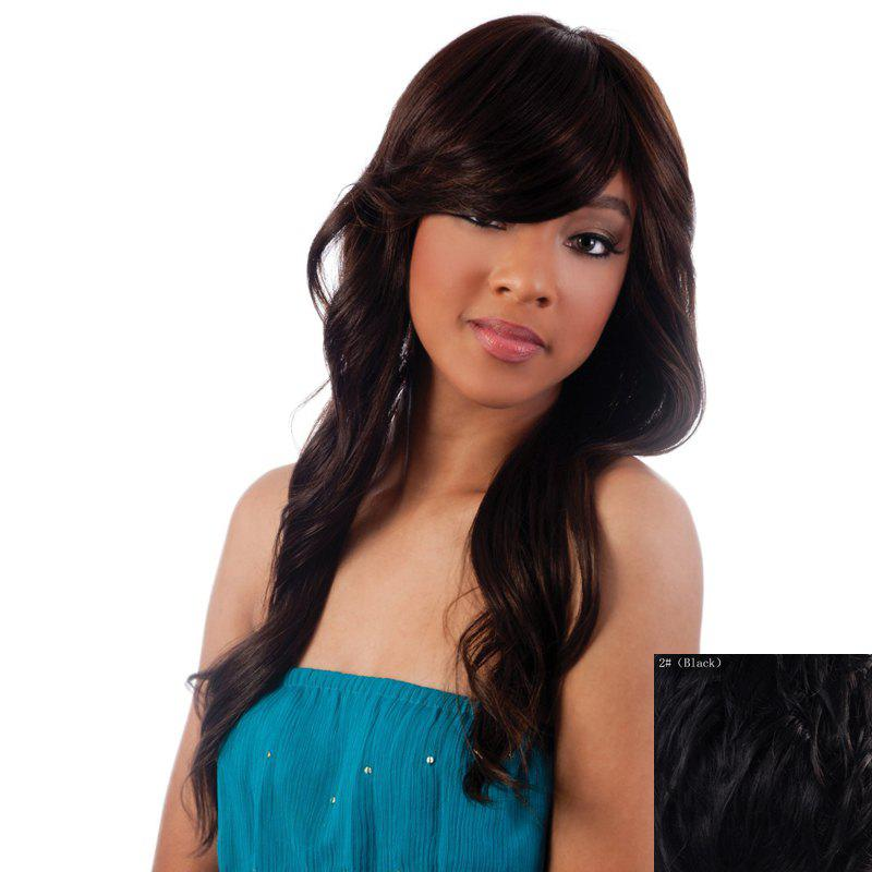 Ladylike Trendy Side Bang Long Curly Hair Human Hair Capless Wig For Women - BLACK