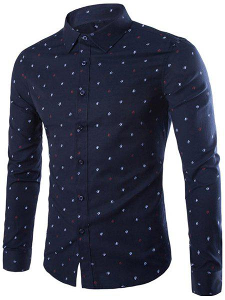 Simple Shirt Collar Yawl Print Slimming Men's Long Sleeves Shirt - CADETBLUE L