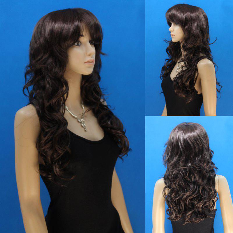 Fashion Black Mixed Brown Synthetic Elegant Long Capless Fluffy Curly Wig For Women - COLORMIX