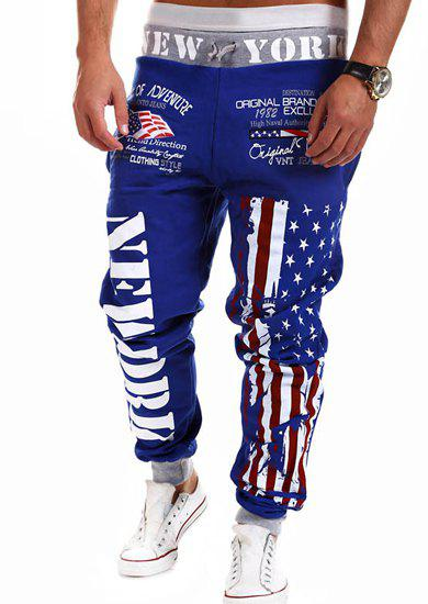 Letters and Flag Print Lace-Up Beam Feet Men's Pants - BLUE 3XL