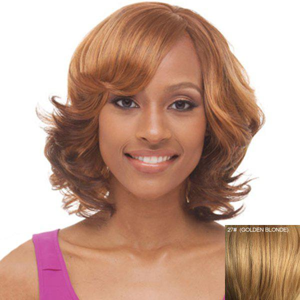 Women's Stylish Bouffant Medium Curly Side Bang Human Hair Capless Wig - GOLDEN BLONDE
