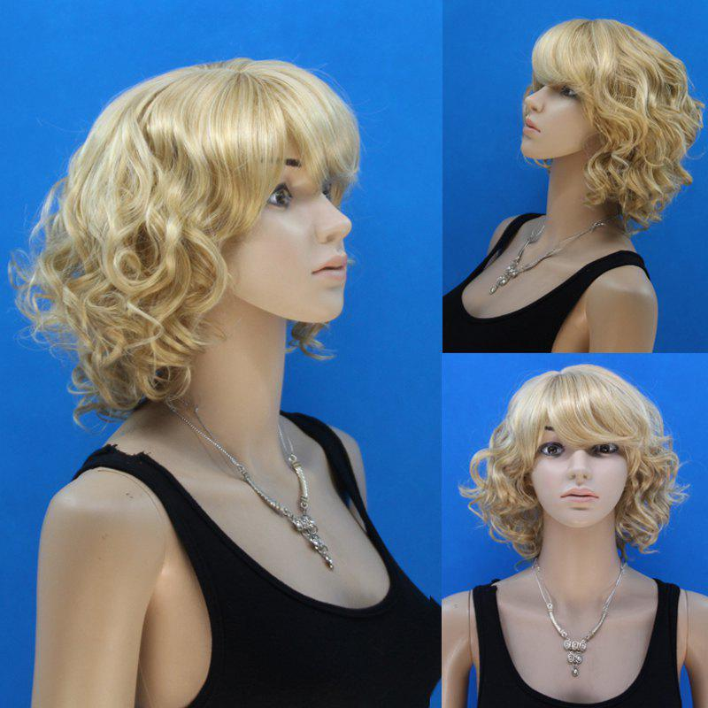 Fluffy Curly Capless Noble Blonde Mixed Flax Synthetic Stylish Short Side Bang Women's Wig