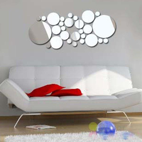 Multi-Piece Circle Shape 3D Mirror Wall Sticker For Walls - SILVER