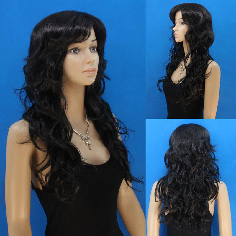 Fashion Black Long Elegant Side Bang Synthetic Fluffy Curly Capless Wig For Women