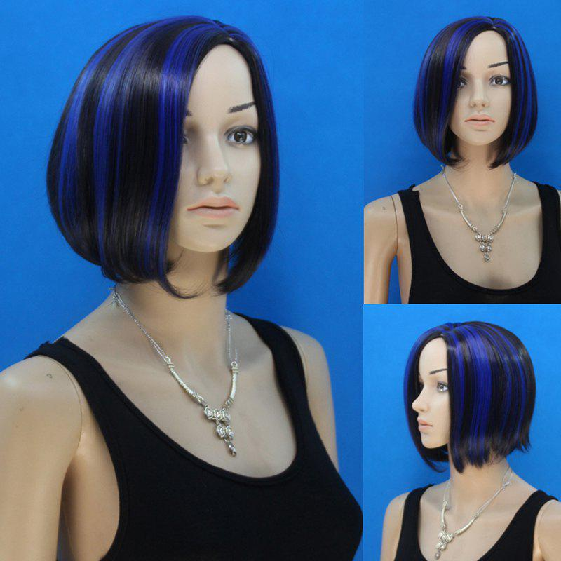 Stylish Middle Part Blue Highlight Capless Short Bob Style Straight Women's Synthetic Wig - COLORMIX