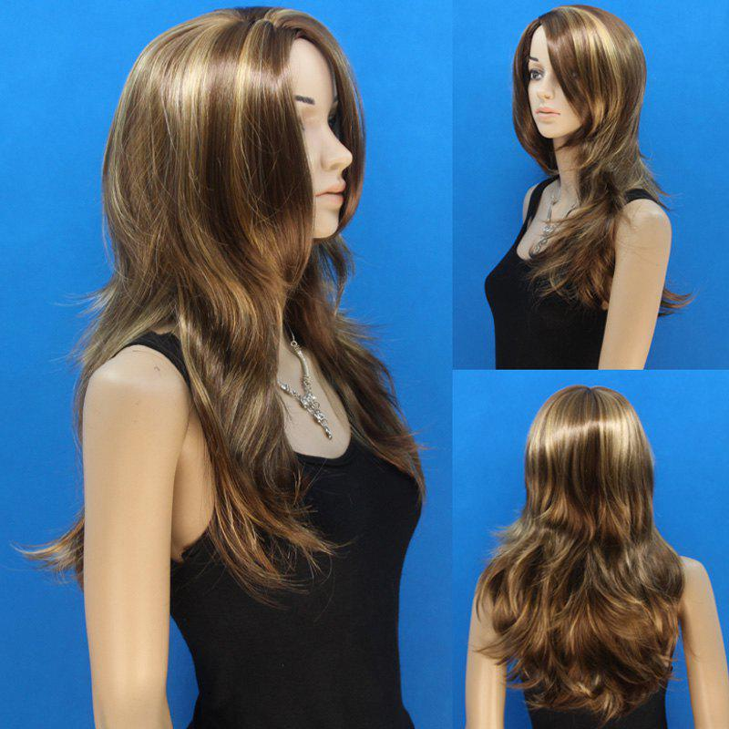 Fluffy Wavy Flax Brown Mixed Elegant Side Bang Fashion Long Layered Synthetic Wig For Women - COLORMIX