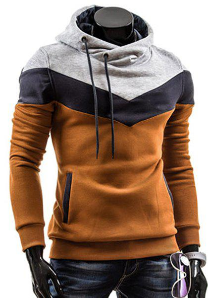 Hooded Drawstring Color Block Splicing Thicken Long Sleeve Men's Hoodie - CAMEL L