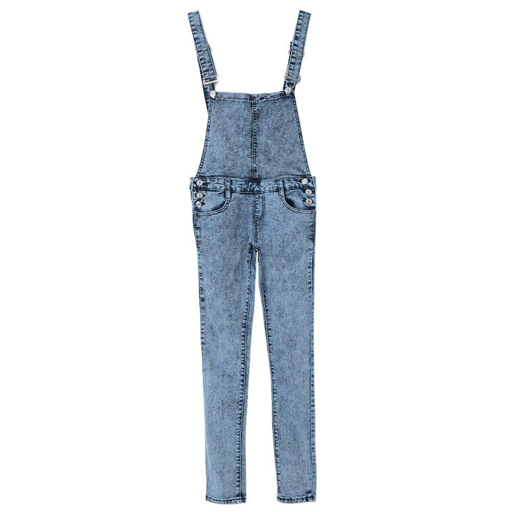 Stylish Women's Criss-Cross Bleach Wash Denim Overalls - BLUE M