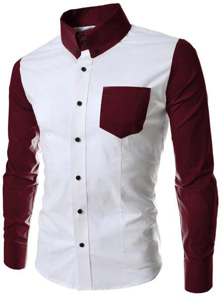 Turn-Down Collar Color Block Splicing Long Sleeve Men's Button-Down Shirt - WINE RED M