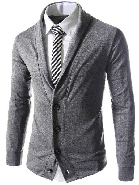 Single Breasted Turn-Down Collar Long Sleeve Solid Color Men's Cardigan - SMOKY GRAY XL