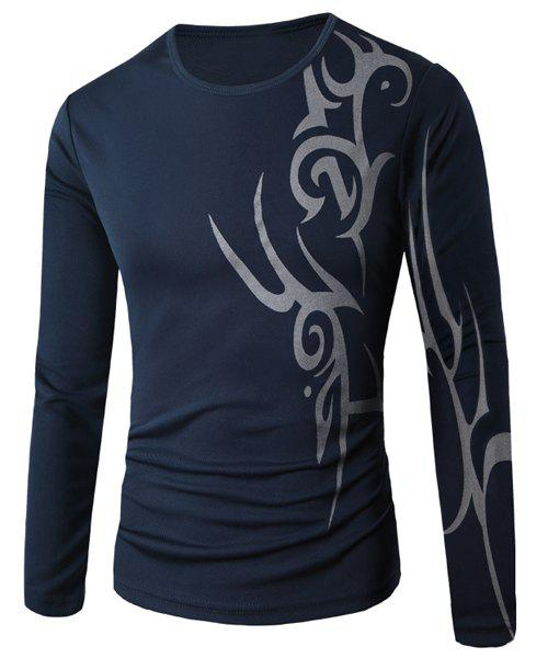 Round Neck Abstract Print Slim Fit Long Sleeve Men's T-Shirt - CADETBLUE M