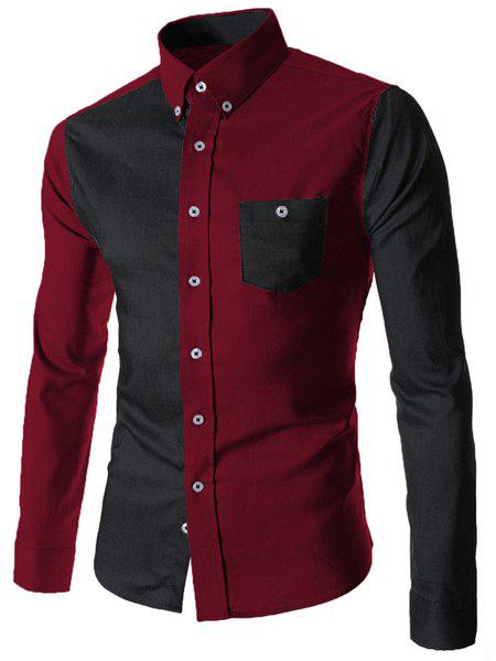 Turn-Down Collar Color Block Spliced Long Sleeve Pocket Button-Down Men's Shirt - RED/BLACK M