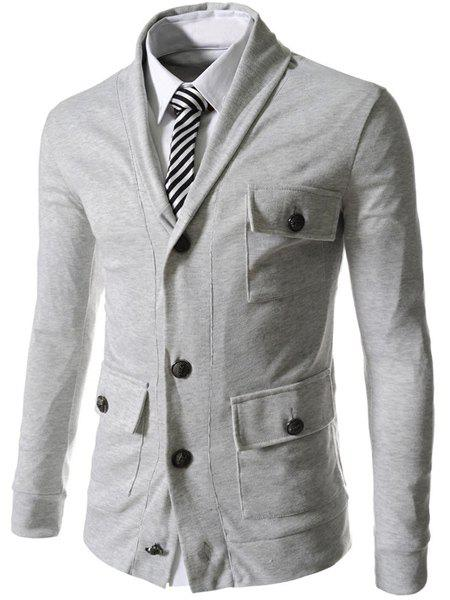 Pockets Embellished Single Breasted Lapel Long Sleeve Cotton Blends Men's Jacket - LIGHT GRAY M
