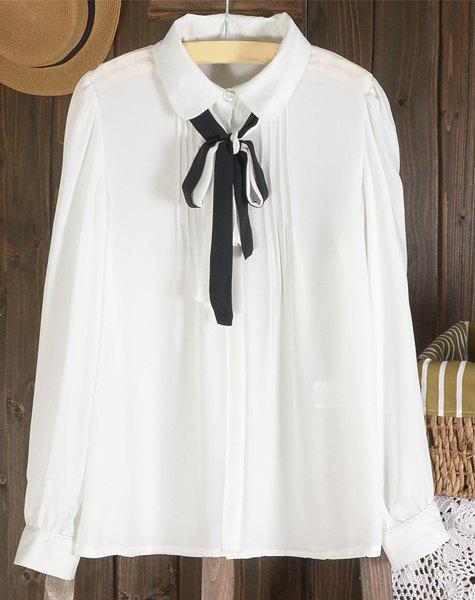 Preppy Peter Pan Collar Long Sleeve Self-Tie Bowknot Blouse For Women - WHITE XL