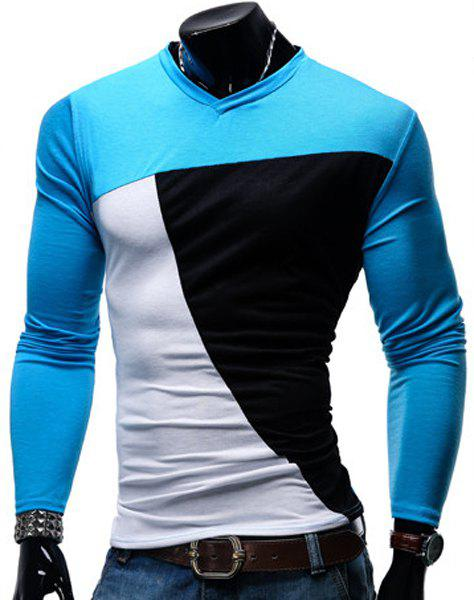V-Neck Color Block Spliced Design Long Sleeve Men's T-Shirt - LAKE BLUE M