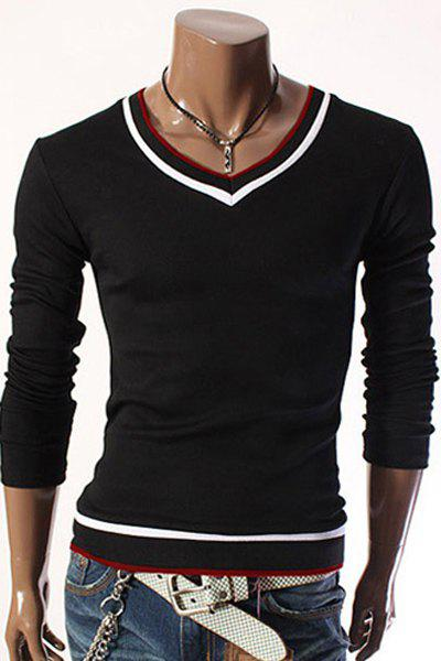 V-Neck Color Block Rib Splicing Design Long Sleeve Men's T-Shirt - BLACK XL