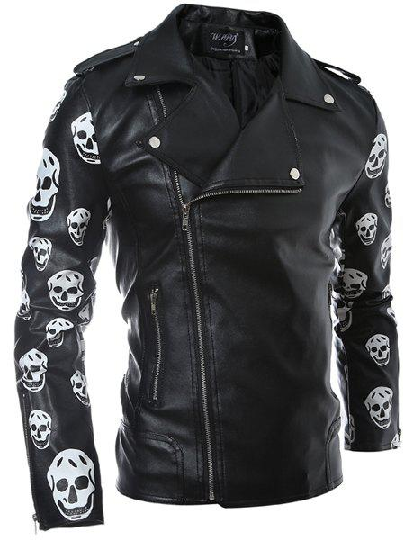 Turn-Down Collar Skull Pattern Print Long Sleeve Men's PU-Leather Coat