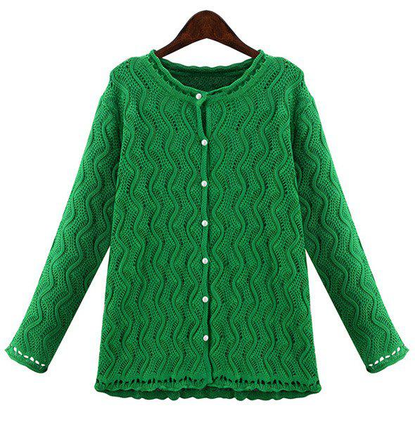 Stylish Women's Jewel Neck Long Sleeve Solid Color Wave Cardigan - GREEN 3XL