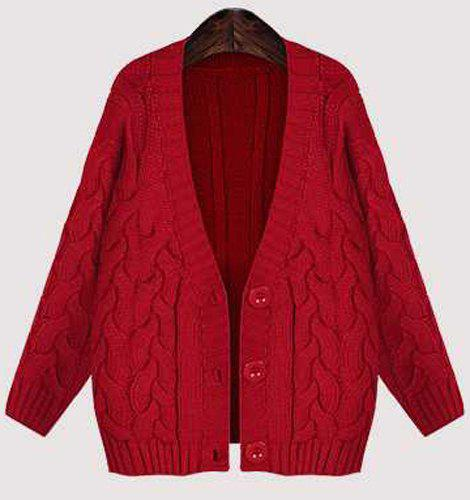 Vintage Women's V-Neck Long Sleeve Solid Color Cardigan - CLARET ONE SIZE(FIT SIZE XS TO M)