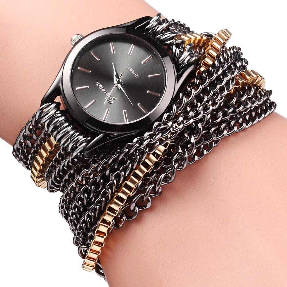 Alloy Chain Link Bracelet Women Quartz Wristwatch with Round Dial - BLACK