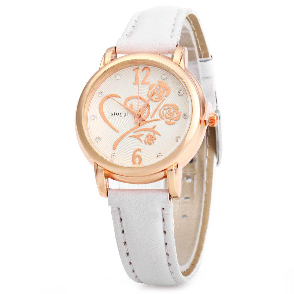 Women Bracelet Quartz Wrist Watch with Rose Pattern Rhinestone Decoration - WHITE
